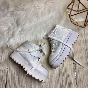 • Jeffery Campbell White Top Peak Platform boots